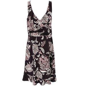 ANN TAYLOR Brown White Paisley Silk Dress Size 6